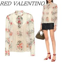 RED VALENTINO Long Sleeves Plain Medium Elegant Style Shirts & Blouses