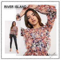 River Island Flower Patterns Casual Style Chiffon Long Sleeves