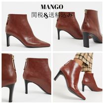 MANGO Square Toe Faux Fur Plain Block Heels Party Style