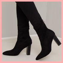 Chi Chi London Casual Style Suede Plain Chunky Heels Ankle & Booties Boots