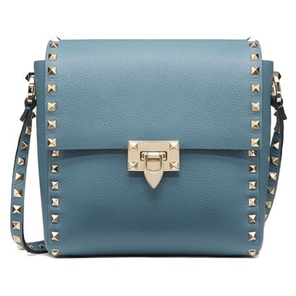 VALENTINO Calfskin Studded 2WAY Plain Leather Party Style Office Style