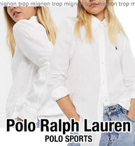 POLO RALPH LAUREN Casual Style Linen Long Sleeves Plain Oversized