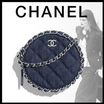 CHANEL Denim Chain Crossbody Logo Shoulder Bags