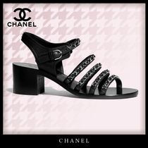CHANEL Open Toe Casual Style Chain Leather Block Heels Party Style