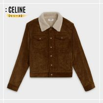 CELINE Short Shearling Logo Jackets