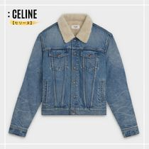 CELINE Short Denim Denim Jackets Shearling Logo Jackets