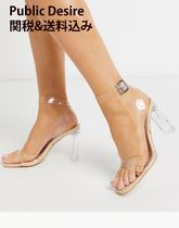 PUBLIC DESIRE Open Toe Square Toe Plain Block Heels Party Style