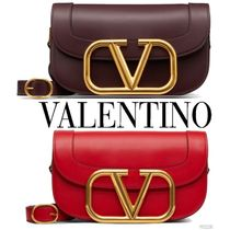 VALENTINO VLOGO Calfskin 2WAY Plain Leather Party Style Office Style