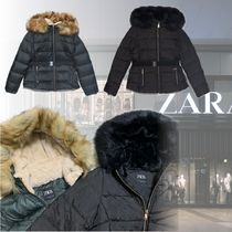 ZARA Nylon Faux Fur Plain Down Jackets