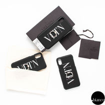 VALENTINO Unisex Street Style Leather Bunker Ring iPhone X iPhone XS