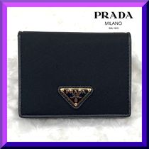 PRADA Unisex Saffiano Nylon Blended Fabrics Plain Leather
