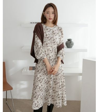 Crew Neck Flower Patterns Casual Style A-line Flared