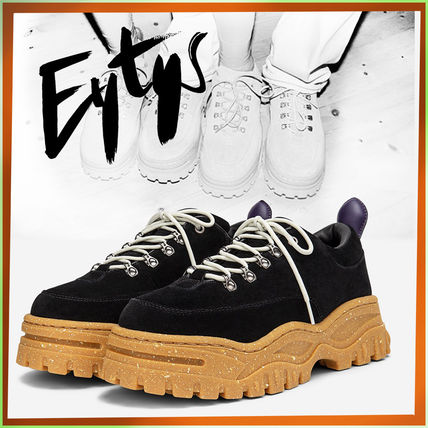 Unisex Street Style Plain Leather Logo Low-Top Sneakers