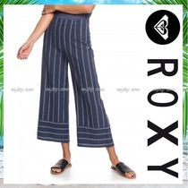 ROXY Stripes Casual Style Linen Cotton Medium Midi