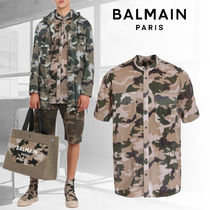 BALMAIN Camouflage Street Style Cotton Short Sleeves Shirts