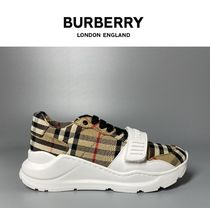 Burberry Tartan Other Plaid Patterns Lace-up Casual Style Logo