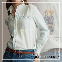 POLO RALPH LAUREN Casual Style Long Sleeves Plain Other Animal Patterns Cotton