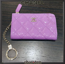 CHANEL TIMELESS CLASSICS Calfskin Chain Plain Leather Coin Cases