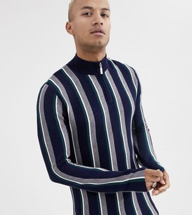 Stripes Street Style Long Sleeves Sweaters