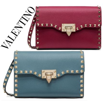 Casual Style Calfskin Studded 2WAY Plain Leather Party Style