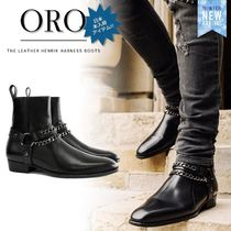 ORO LOS ANGELES Street Style Chain Plain Leather Boots
