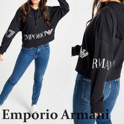 Short Long Sleeves Cotton Logos on the Sleeves Cropped