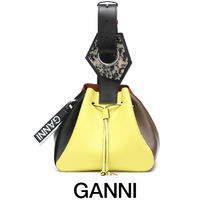 Ganni Casual Style Bi-color Leather Party Style Purses Handbags