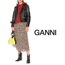Ganni Casual Style Bi-color Leather Party Style Purses Logo