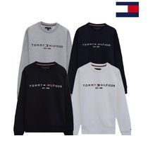 Tommy Hilfiger Crew Neck Unisex Sweat Street Style Long Sleeves Cotton