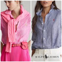 POLO RALPH LAUREN Stripes Casual Style Linen Long Sleeves Office Style