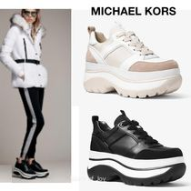 Michael Kors Platform Round Toe Rubber Sole Casual Style Suede