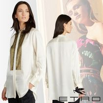 ETRO Silk Bi-color Long Sleeves Medium Party Style Oversized