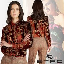 ETRO Flower Patterns Velvet Long Sleeves Medium Elegant Style