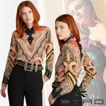 ETRO Paisley Silk Long Sleeves Medium Party Style Elegant Style