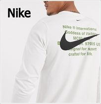 Nike Crew Neck Long Sleeves Plain Logos on the Sleeves