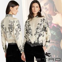 ETRO Flower Patterns Silk Long Sleeves Medium Party Style