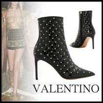 VALENTINO Casual Style Studded Pin Heels Ankle & Booties Boots