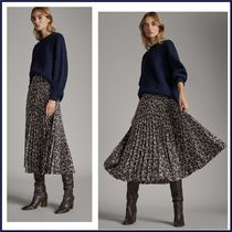 Massimo Dutti Leopard Patterns Casual Style Pleated Skirts Long