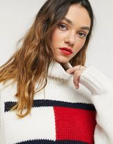 Tommy Hilfiger Long Sleeves Plain Oversized Logo Turtlenecks