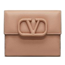 VALENTINO  VSLING Calfskin Plain Leather Folding Wallet Logo Folding Wallets