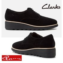 Clarks Round Toe Rubber Sole Lace-up Casual Style Suede