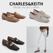 Charles&Keith Casual Style Suede Chain Plain Leather With Jewels