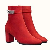 HERMES Plain Toe Plain Leather Ankle & Booties Boots