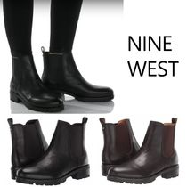 Nine West Round Toe Casual Style Plain Leather Chelsea Boots