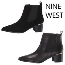 Nine West Casual Style Plain Leather Block Heels Chelsea Boots