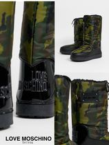Love Moschino Heart Camouflage Round Toe Street Style Logo Boots Boots