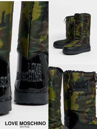 Heart Camouflage Round Toe Street Style Logo Boots Boots