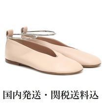 Jil Sander Round Toe Plain Leather Party Style Elegant Style Flats