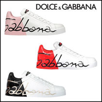 Dolce & Gabbana Leather Logo Low-Top Sneakers