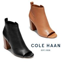 Cole Haan Open Toe Casual Style Plain Leather Chunky Heels